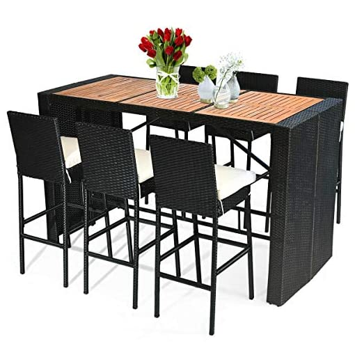 Garden and Outdoor Tangkula 7 PCS Outdoor Dining Set, Patio Wicker Furniture Set with Acacia Wood Table Top and Removable Cushion… patio dining sets