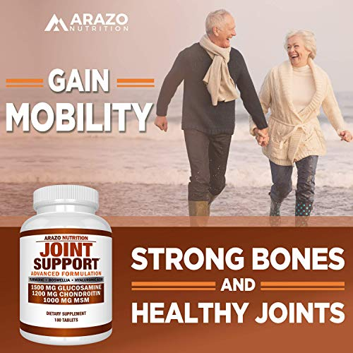 Glucosamine Chondroitin Turmeric MSM Boswellia - Joint Support Supplement for Relief 180 Tablets - Arazo Nutrition by Arazo Nutrition (Image #4)