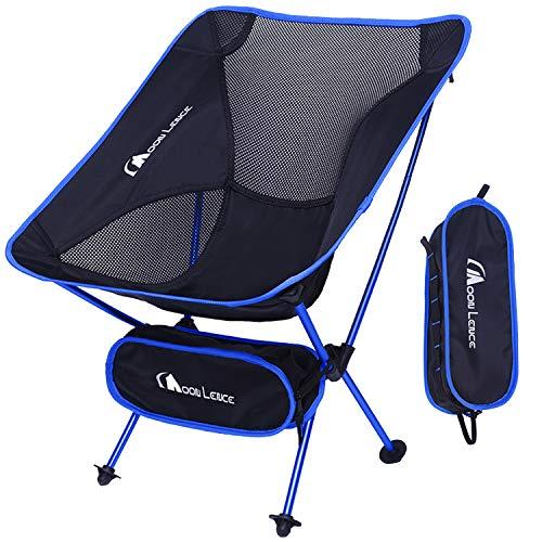 <캠핑용품> Moon Lence 아웃도어 체어 캠프 의자 접이식 알루미늄 합금& 옥스포드 콤팩트 초경량 수납 가방 하이킹 내하중150kg <색상: 다크블루, 라이트블루>