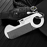 IKEPOD Pocket Metal Beard Hair Comb - Mini Keychain Titanium Alloy Anti-static Credit Card Size EDC Wallet Comb with Bottle Opener for Mustache