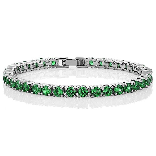 Gem Stone King 10.00 Ct Round Green Color Cubic Zirconia CZ Tennis Bracelet 7 Inch