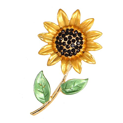 Gold Plated Full Inlay Crystal Sunflower Brooch and Pin -Bling Sun Flower (Brooch Sunflower Crystal)