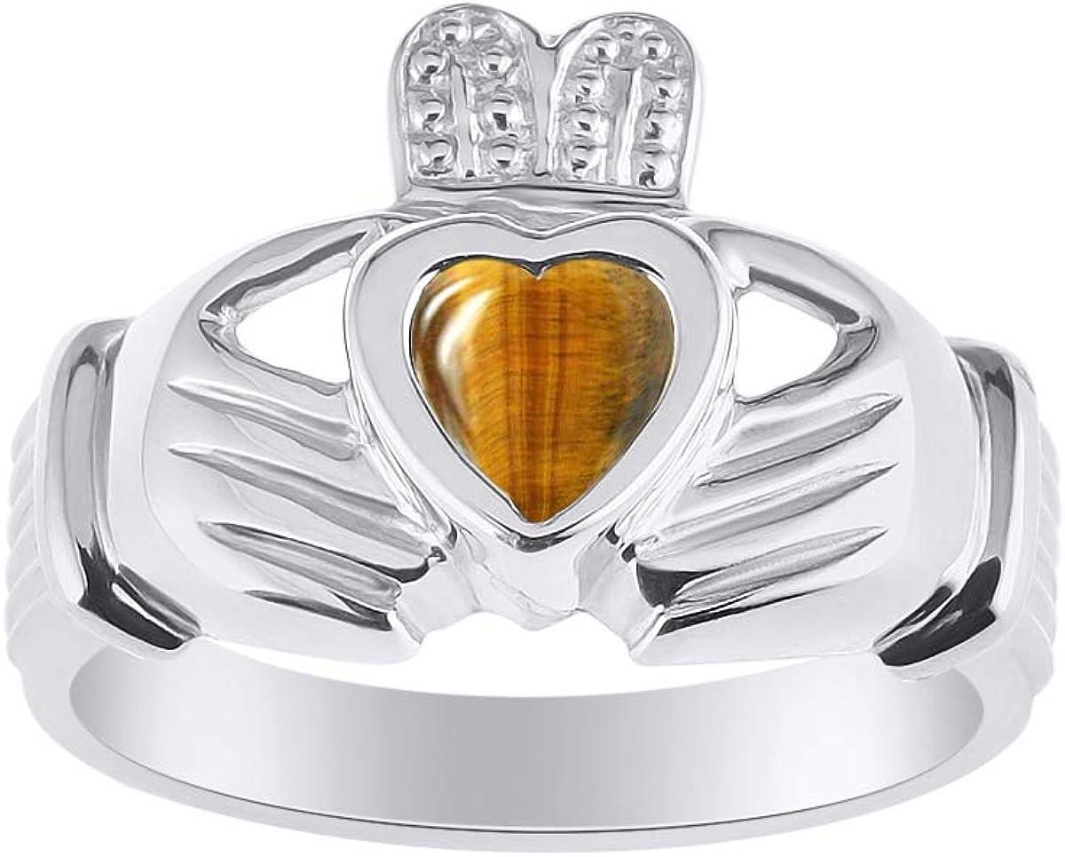 RYLOS CLADDAGH Claddah Love, lealtad y amistad anillo con piedra de corazón en oro blanco de 14 quilates, piedra de color de 6 mm, alianzas irlandesas de boda