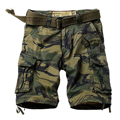 AUSZOSLT Men's Classic Multi Pocket Slim Fit Cotton Twill Casual Cargo Shorts 2608# A Camo 32 ()