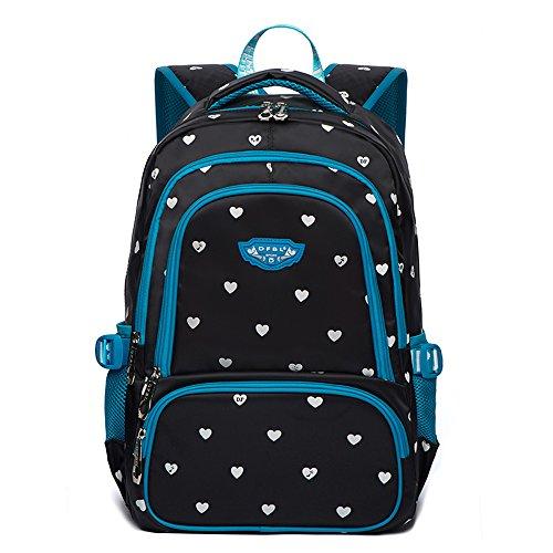 Hearts Print School Backpacks For Girls Kids Elementary School Bags Bookbag (Black & (Black Elementary School)