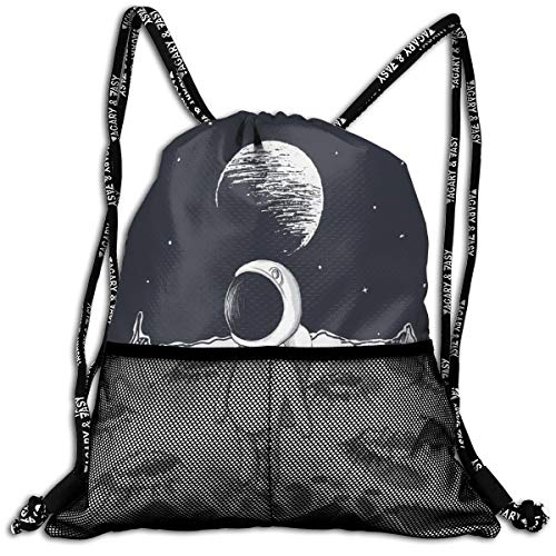 Drawstring Backpack bags, Cute Astronaut Walking On The Moon Space Stars Children Cartoon Hand Drawn Art (A Drawn By China Moon)