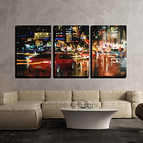 Digital Painting of City Street at Night with Colorful Lights x3 Panels
