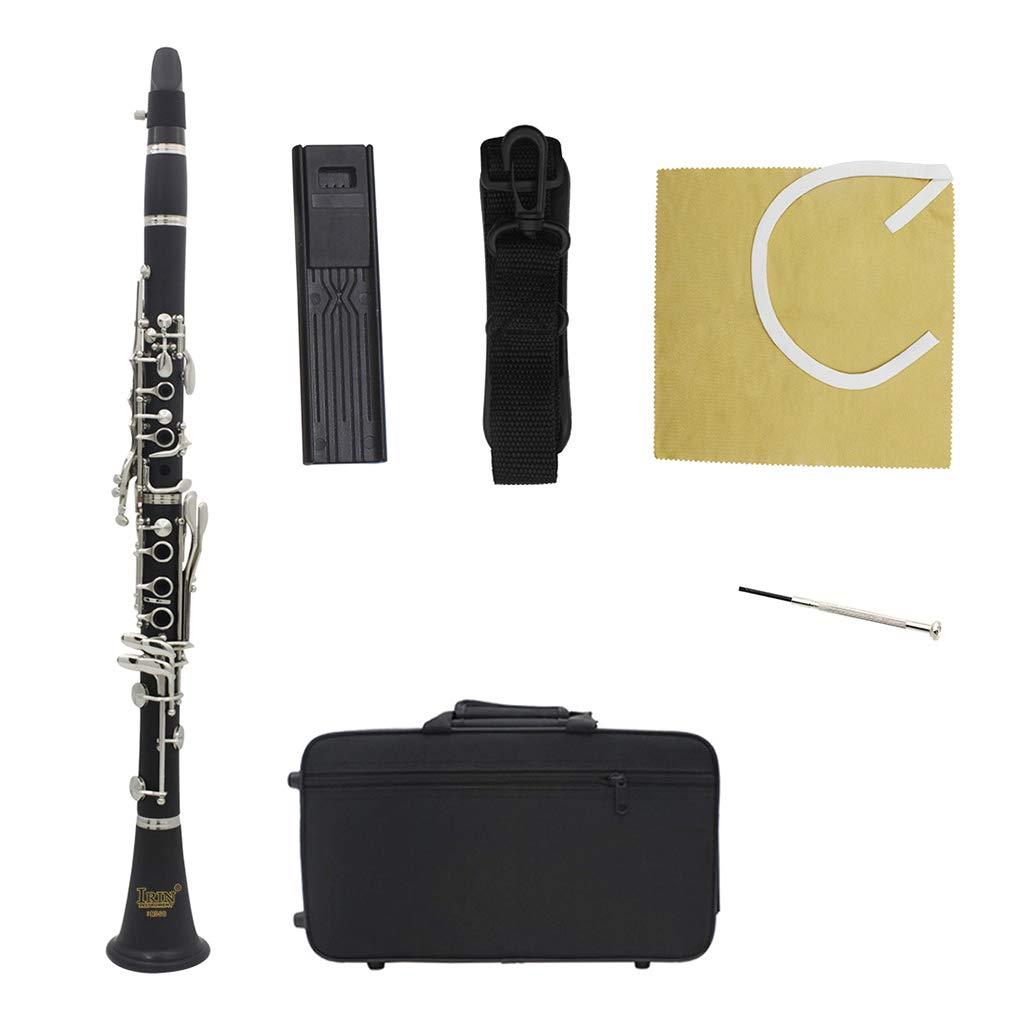 Huhudde New bakelite ABS 17 Key Clarinet bB Flat Soprano Binocular Clarinet with Cleaning Cloth Gloves Screwdriver Reed Case Woodwind by Huhudde