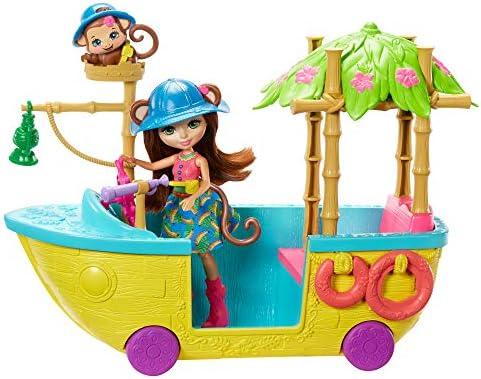 Enchantimals GFN58 - Dschungelwald Boot mit Äffchen Puppe und Tier, Puppen Spielzeug ab 4 Jahren