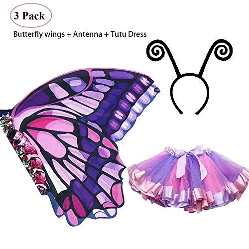 Rainbow Kids Butterfly Wings Costume for Girls Mask Tutu Halloween Dress Up Party (Purple-Pink)