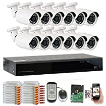 GW Security 16 Channel HDMI CCTV 1.3MP Security Surveillance DVR System with 12 x 1300TVL 720p High Resolution Weatherproof Security Cameras and Pre-Installed 2TB Hard Drive
