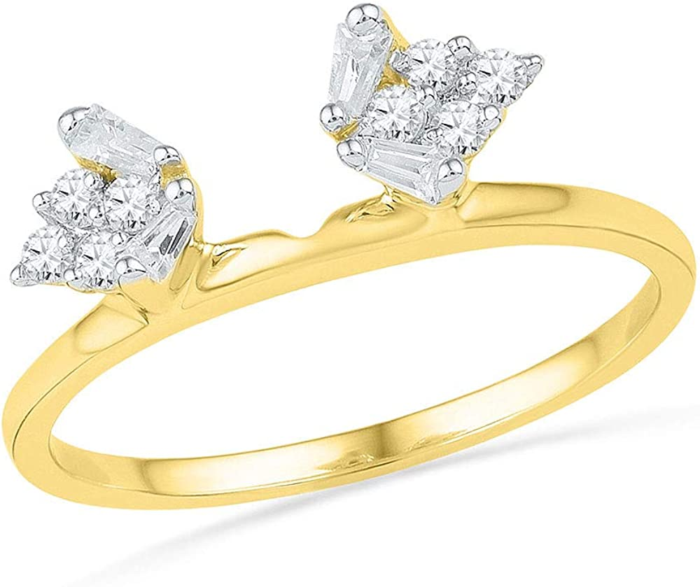 FB Jewels 14kt Yellow Gold Womens Baguette Diamond Ring Guard Wrap Solitaire Enhancer 1/4 Cttw (I1-I2 clarity; H-I color)