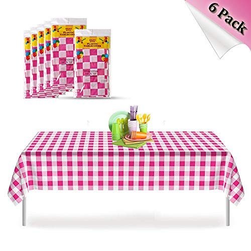 Pink Checkered Gingham 6 Pack Premium Disposable Plastic Picnic Tablecloth 54 Inch. x 72 Inch. Rectangle Table Cover, Indoor or Outdoor Parties Birthdays Weddings Christmas ()