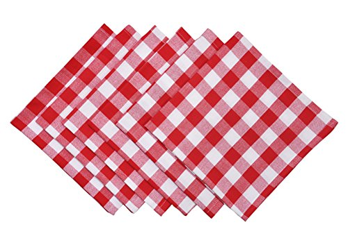 Yourtablecloth Buffalo Plaid 100% Cotton Cloth Checkered Dinner Table Napkins - Vibrant Colors - Soft & Super Absorbent Napkins 20 x 20 Set of 6 Red and White]()