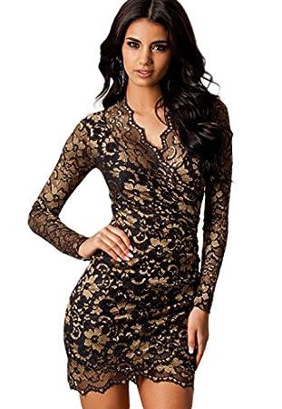 Nuevas señoras negro y dorado cuello en V Encaje Vestido Club wear tarde vestidos de fiesta verano talla M 10: Amazon.es: Electrónica