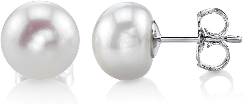 Deluxe Freshwater Pearl stud earrings in 925 sterling silver AA high quality elegant genuine pearl earrings. real silver
