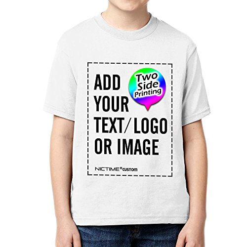 NICTIME Custom T shirts For Boys Girls Design Your Own Front And Back Kid's Tee White XS