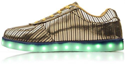 Elektrische Stijlen Met Elektro Led Light Sneakers Goud Op