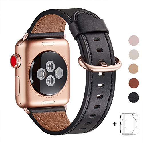 WFEAGL Compatible iWatch Band 44mm 42mm, Top Grain Leather Band with Gold Adapter (The Same as Series 4/3 with Gold Aluminum Case in Color) for iWatch Series 4/3/2/1 (Black Band+Rosegold Adapter)
