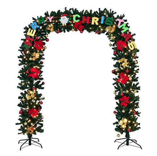 Halloween Together Easy Costumes To Put Adults For (7.5'×5' Pre-Lit Artificial Arched Christmas Tree Archway Decoration LED Lights 2 Solid Metal Stands Home Entryways Indoor Outdoor Holiday Season Christmas Flower Ball Festive)