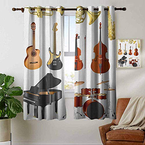 (petpany Blackout Curtains Music,Collection of Musical Instruments Symphony Orchestra Concert Composition Theme Print, Multicolor,Insulating Room Darkening Blackout Drapes for Bedroom 42