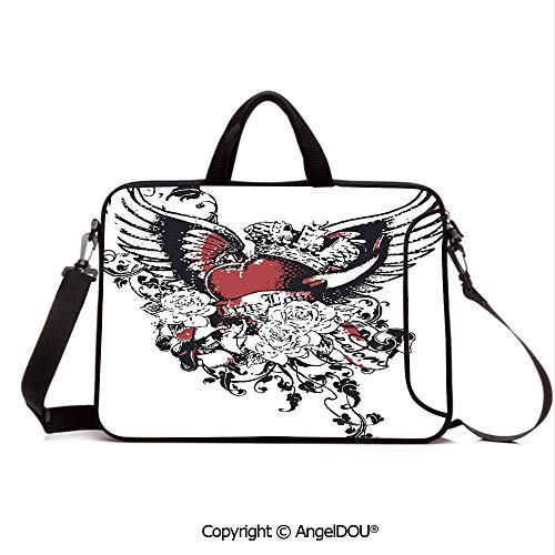 AngelDOU Laptop Shoulder Bag Waterproof Neoprene Computer Case Tattoo Style Heart Crown with Wings Artictic Love Valentines Gothic Romance GRAP with Handle Adjustable Shoulder Strap and External Sid ()