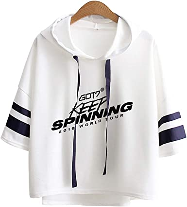 KPOP GOT7 Sudaderas con Capucha Camisa de Manga 3/4 Camiseta Pullover Keep Spinning Impresión Hoodies Suelto Abrigo Suéter Casual Tops JB Bambam ...