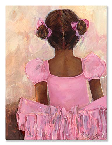Oopsy Daisy Perfect Ballerina African American Stretched Canvas Wall Art by Kristina Bass Bailey, 18 by 24-Inch ()