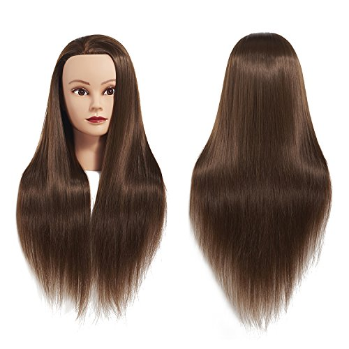 26-28 Mannequin Head Hair Styling Training Head Manikin Cosmetology Doll Head Synthetic Fiber Hair Hairdressing Training Model With Free Clamp (Sugar Brown)