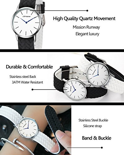 Top Plaza Unisex Casual Simple Silicone Strap Analog Quartz Watch Unique Reversible Doulbe Color Band Japanese Quartz Movement Waterproof Watch(Black and White) by Top Plaza (Image #4)