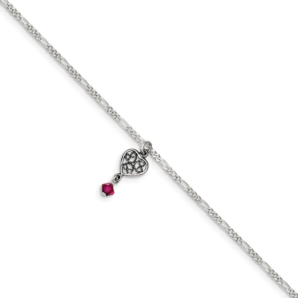 925 Sterling Silver Antiqued Dark Pink Crystals Dangling Hearts Anklet Ideal Gifts For Women
