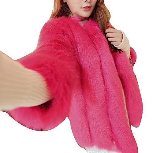 Gilet Hiver Fourrure Rose Waistcoat Rouge pour Faux Veste Manteau LaoZan en Femme zHqEUF