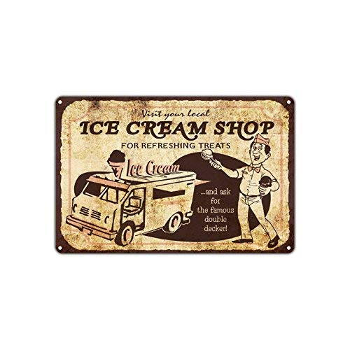 Visit Local Ice Cream Shop for Refreshing Treats Famous Double Decker Stand Food Truck Van Vintage Retro Décor Aluminum 8x12 inch Sign