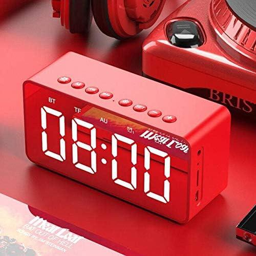 XXYYKK Altavoz Bluetooth Portátil Multifuncional con Reloj Bluetooth Y Tarjeta TF/Modo Auxiliar Led Reloj De Mesa Digital Decoración para El Hogar Rojo