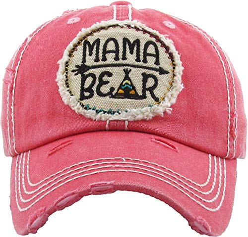 H-212-MB-CP52 Distressed Vintage Hat: Mama Bear CIRCLE PATCH, Coral