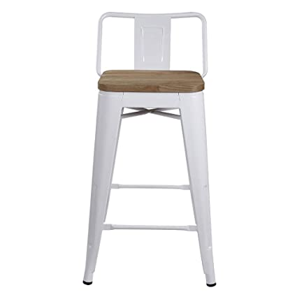 Gia 24 Inch Low Back Stool With Wooden Seat White Light Wood 4 Pack
