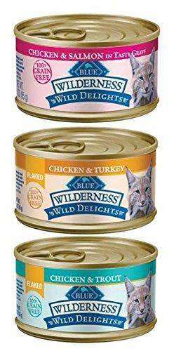 Blue Buffalo Wilderness Wild Delights Grain Free Natural Cat Food 3 Flavor Variety 6 Can Bundle: (2) Flaked Chicken/Turkey/Gravy, (2) Chicken/Salmon/Gravy, and (2) Flaked Chicken/Trout, 3 Oz. Ea.