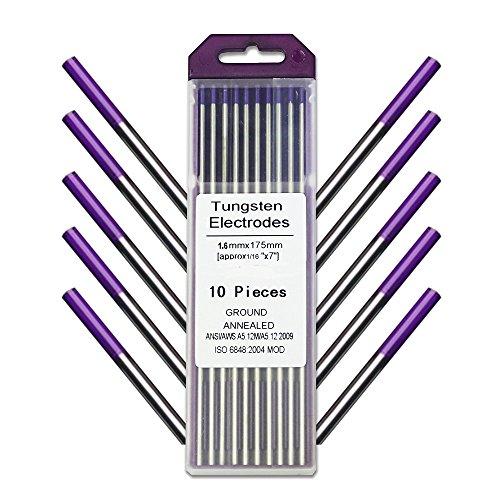 WeldingCity 10-pk TIG Welding Tungsten Electrode Tri-Element Non-Radioactive (Purple) 1/16