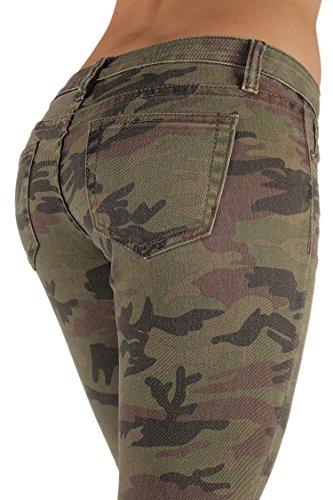 5027X -VIP - Women's Plus Size Classic 5 Pockets Camouflage Stretch Skinny Jeans Size 20