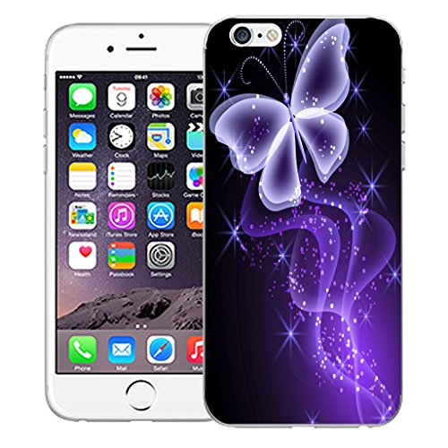 """Mobile Case Mate iPhone 6S Plus 5.5"""" Silicone Coque couverture case cover Pare-chocs + STYLET - Purple Butterfly Sparkle pattern (SILICON)"""