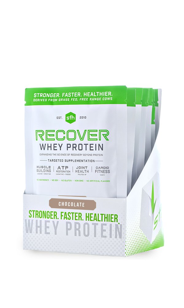 RECOVER Whey Protein Powder (Chocolate) by SFH | Best Tasting 100% Grass Fed Whey for Post Workout | All Natural | 100% Non-GMO, No Artificials, Soy Free, Gluten Free | Box of 10 Single Serves