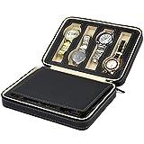 LIANGSM PU Leather Watch Box,Watch Dislpay Box,Zipper Watch Box,Organizer Case PU Leather for Men Women 8 Slot,Exquisite and Durable