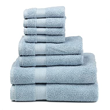 Premium 100% Cotton 8-Piece Towel Set (2 Bath Towels 30  X 52 , 2 Hand Towels 16  X 28  and 4 Washcloths 12  X 12 ) - Natural, Soft and Ultra Absorbent (Blue)