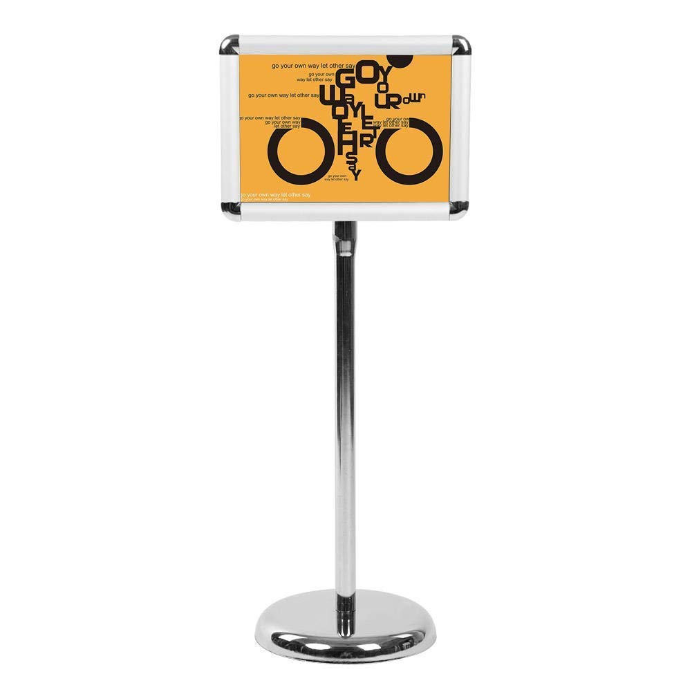A3/A4 Poster Stand Espositore da Pavimento Supporto Menù Poster Pubblicità,Girevole e Regolabile in altezza,in acciaio INOX (angolo arrotondato, A4) GOTOTOP