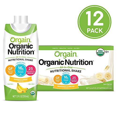Orgain Organic Nutritional Shake, Bananas & Cream - Meal Replacement, 16g Protein, 25 Vitamins & Minerals, Gluten Free, Soy Free, Kosher, Non-GMO, 11 Ounce, 12 Count (Packaging May Vary)