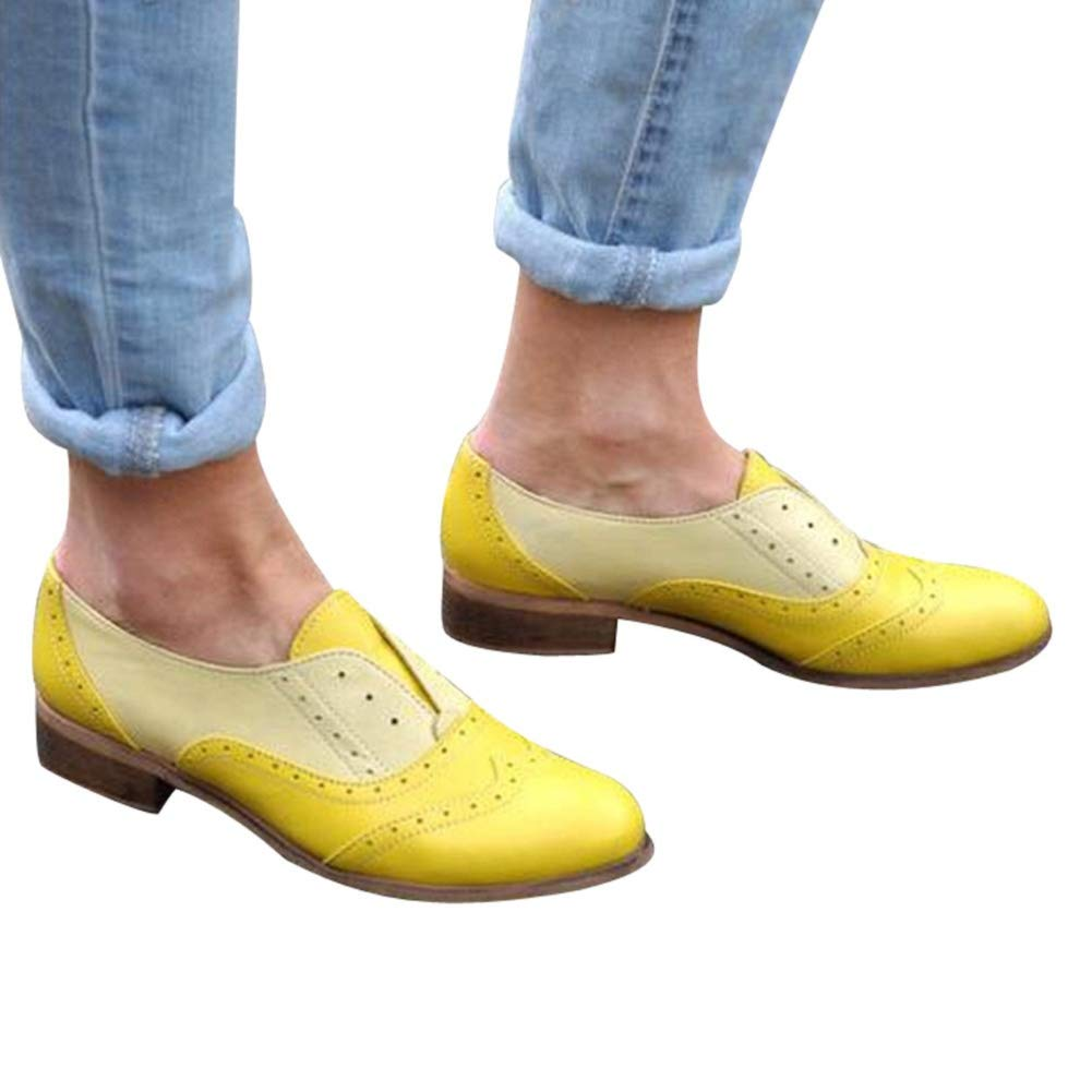 Women's Oxfords Wingtip Brogue Faux Leather Dress Formal Wedding Office Shoes Elegant by Lowprofile Yellow