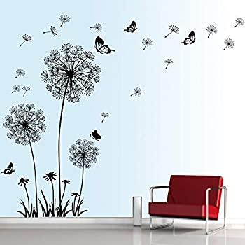 decalmile Dandelion Wall Decals Flying Flowers Butterflies Wall Stickers Dandelion Wall Art Living Room Bedroom Decor (Black)