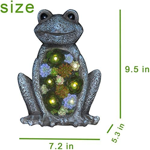 Garden Statue Frog Figurine - Waterproof Resin Succulent Plants with Solar Powered LED Lights for Halloween, Patio Yard Decorations, Home Decorations,9.5 x 7.2 Inch