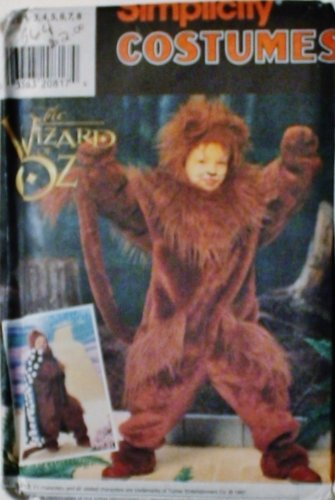 OOP Simplicity Costume Pattern 7825. Boys/girls/child's Szs 3,4,5,6,7,8 Cowardly Lion. Wizard of (Cowardly Lion Costume Pattern)