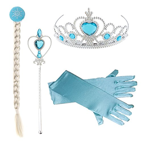 DaHeng Princess Little Girls Kids Dress Up Accessories,Crown Braid Wand Blue Gloves Jewelry Set